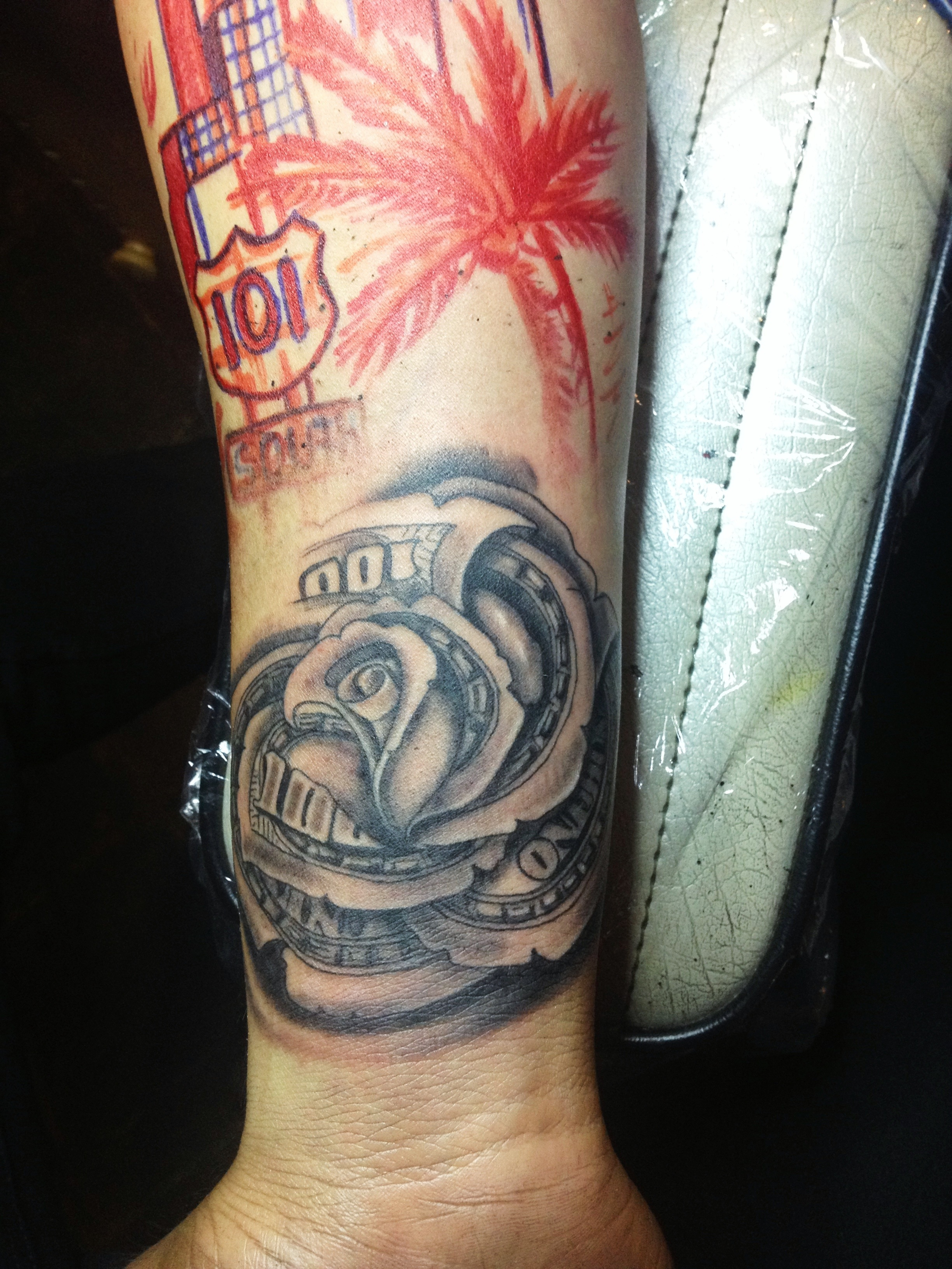 Money Rose Hand Tattoo